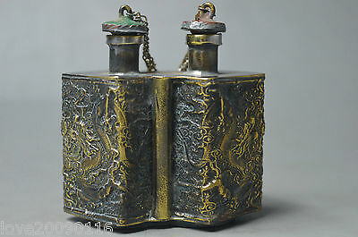 China 2 lid snuff bottle collect Handwork Old copper dragon phoenix relievo