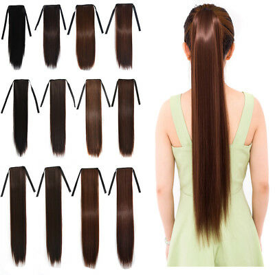 "18"" 24"" 30"" Women Straight Synthetic Ponytail Ombre Pony Tail Hair Extensions"