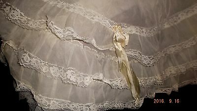 "Vintage French tulle lace Crinoline 20""x 60"" baby/doll clothes/pillows rework~"