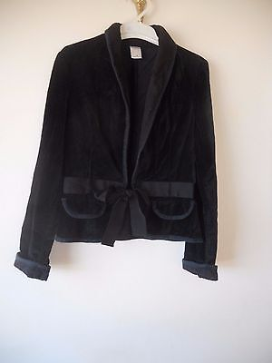 Girls  black velvet  jacket  with tie at the front Size 12