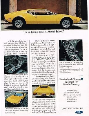 1971 de Tomaso Pantera Yellow imported by Lincoln Mercury Vtg Print Ad