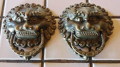 "Vintage Rare Leaping Lions Door Knocker Pull 6"" - Set Of 2 Brass Heavy Duty"