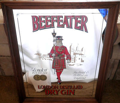"""Beefeater's Mirror """"London Gin"""" Sign -15 1/2"""" x 19 1/4"""""""