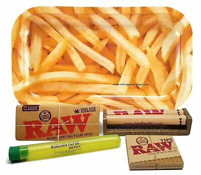 RAW King Sz Supreme, 110 Roller and Pre-rolled Tips w/ RPD Tray (Fries) & MORE