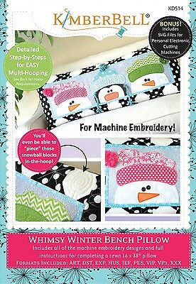 WHIMSY WINTER BENCH PILLOW MACHINE EMBROIDERY CD, From Kimberbell NEW