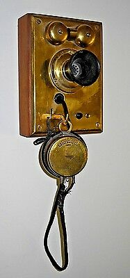 EARLY 1900's BRASS FRONT S.H.COUCH TELEPHONE INTERCOM * WALL MOUNT* NORFOLK MASS