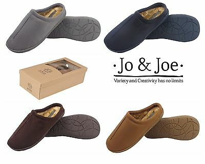New Men's Comfy Suede Faux Fur Lined Slip On Mule Slippers Shoes Gift Boxed