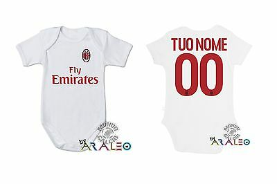 Body Neonato Baby Milan  Tuo Nome Bodysuit Infant Baby Newborn Name Rosso
