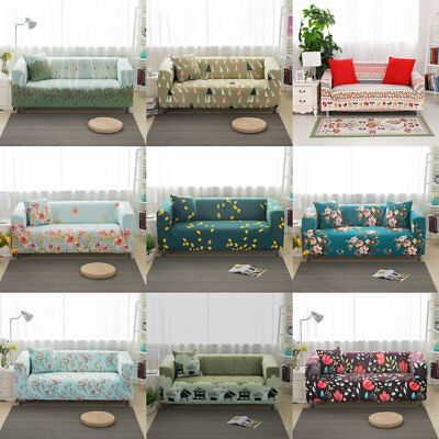 Floral 1 2 3 Seater Stretch Slipcover Chair Loveseat Sofa Couch Protect Cover