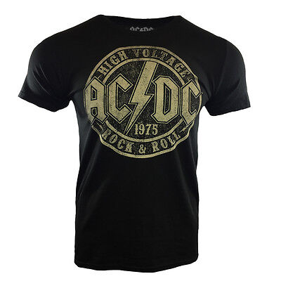 AC/DC Official Men's T-shirt HIGH VOLTAGE ROCK AND ROLL 1975 - TNT - Rock Music