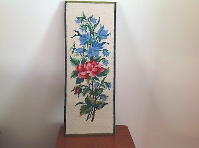 Vintage French Completed Tapestry Panel Of Rose  With Blue Flowers