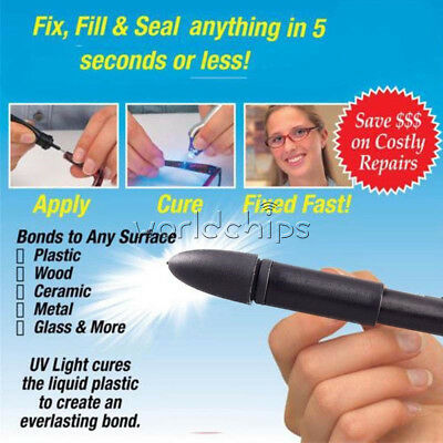 Quick 5 Second Glue Refill Liquid Plastic Welding Set Fix UV Light Repair Tool