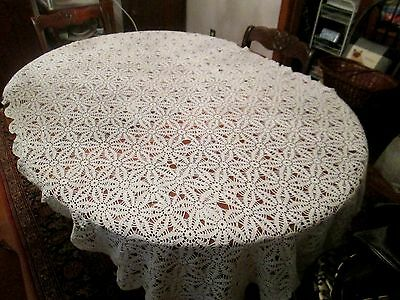 Vintage Hand made White Crochet Lace tablecloth 82 x 57""