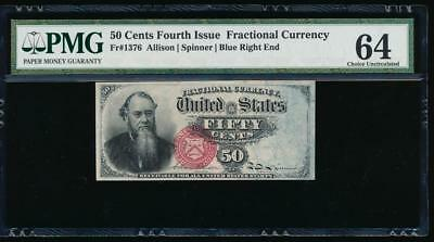 AC Fr 1376 $0.50 1869 fractional fourth issue PMG 64 Stanton rainbow