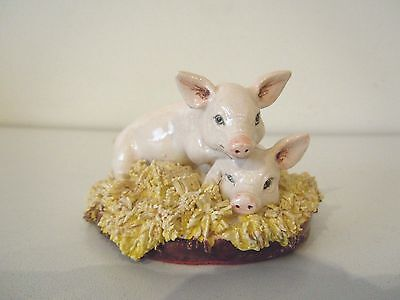 VINTAGE ENGLISH MADE PIG FIGURINE BY MIRANDA C. SMITH (EXCELLENT; c.1980'S)
