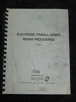 Bally Electronic Pinball games repair procedures FO 560-3 Book 92 pages