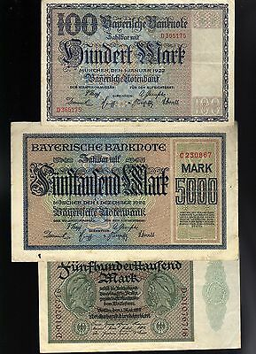 Germany:  Three (3) Inflation Banknotes
