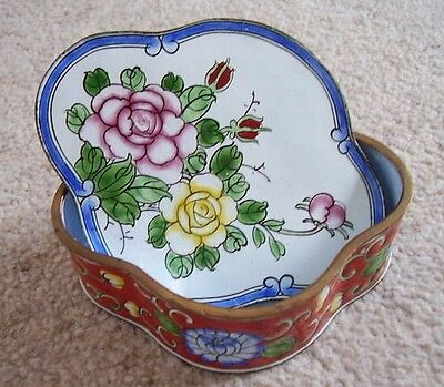 Cloisonne metal-brass enamelled trinket box with cover