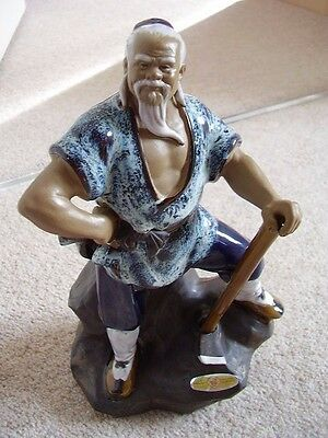 Chinese  clay-pottery madman-figure -ornament,big,4