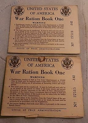Lot of (2) Antique WWII War Ration Books  War Ration Book One