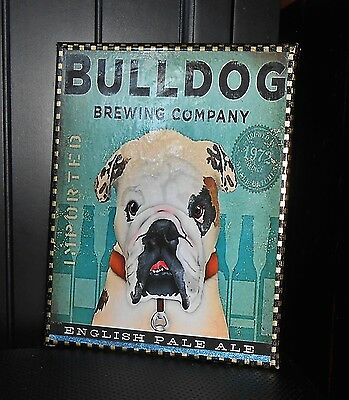 """English Bulldog Craft Beer Brewery Decor On  Stretched Canvas Print 8"""" X 10"""""""
