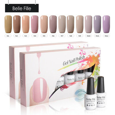 BELLE FILLE Nude 12Pcs/Set UV Gel Soak Off Nail Art Polish Manicure Kit Base Top
