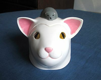 Vintage Cat and Mouse Ceramic Box by Taffy Dahl Vandor Imports Made in Japan