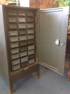 Army Green Industrial War-Time Metal Factory 30 Drawer Cabinet
