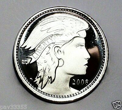 D.Carr 2008 D - 100 AMEROS - Winged Liberty Head - 1 Troy Oz.999 Silver Round