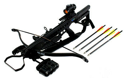 175lbs Recurve Hunting Crossbow Package Scope Arrows Cocking Device 245 FPS New