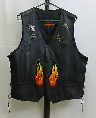 """HOT LEATHERS"" Motorcycle Leather VEST * Black * 3 PATCHES & 4 PINS * Size L"