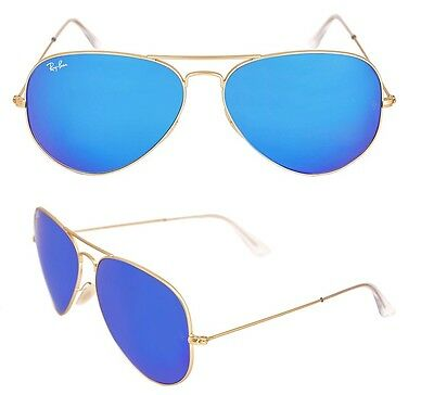 NEW AUTHENTIC Rayban sunglasses RB3025 Aviator 112/17 55 Gold Blue Mirror 3025