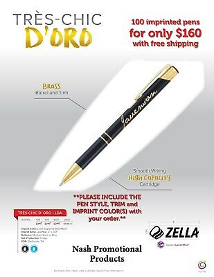 Imprinted Promotional Brass Ink Pens 100, Ships 2-3 days after proof approval.
