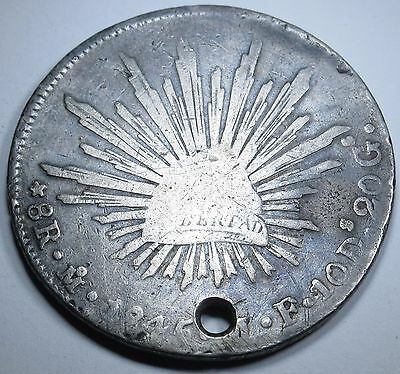 Mexico 8 Reales 1845 Antique Mexican Currency Coin Money Piece Of Eight Real