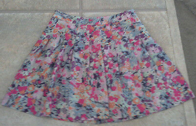 (NWOT) J Crew Ladies Size 0 Beautiful Light Blue Floral Lined Pleated Skirt