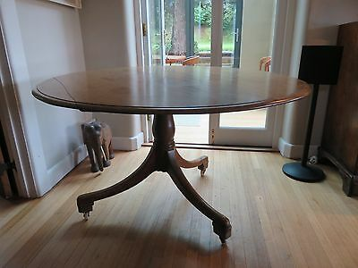 Antique Victorian Mahogany Round Tilt Top Dining Breakfast Table