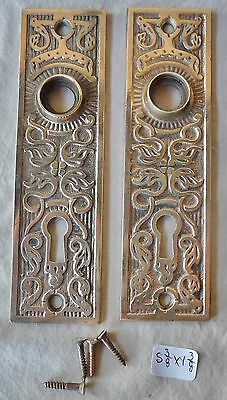 "Door knob back plates (pair) Eastlake PolishedCast Bronze 5 3/8"" x 1 3/8"""
