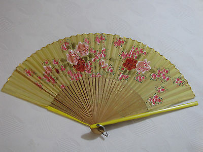 40s Occupied Japan Silk & Wood Handpainted Rose Floral Fan! Vintage Home Decor