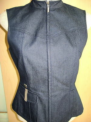 Betty Boop Blue Denim Ladies Vest Size 3 w/ Silvertoned Medallion AUTH NWOT VTG?