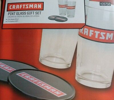Craftsman Pint Glass Gift Set with 2 Tin Coasters NIB