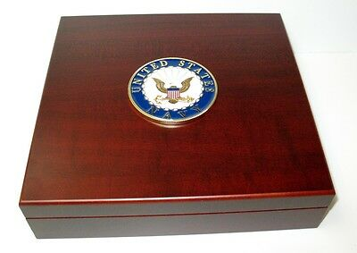 US Navy Large Metal Logo Mahogany Red Finish Dresser Gift Presentation Box