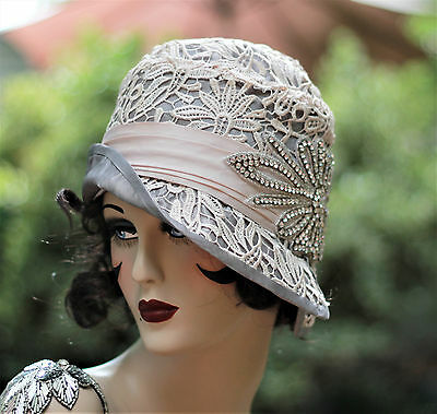 1920s Vintage Style Cloche Flapper Party Wedding Hat Handmade Lace Rhinestones