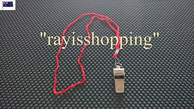 1 x Budget Super Loud METAL Whistle With Red Necklace,  Referee Sport Outdoor