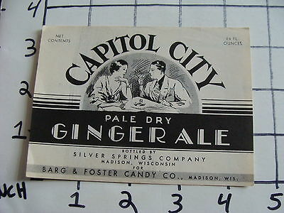 Original Vintage Label: CAPITAL CITY pale dry GINGER ALE madison wis