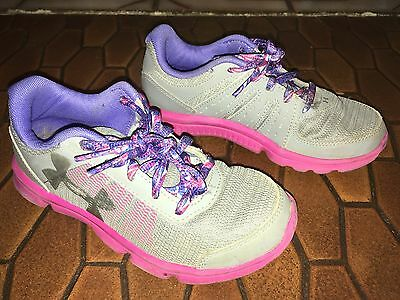 UNDER ARMOUR Girls Kids Gray Pink ATHLETIC SHOES Sneakers size 1 Youth 1Y