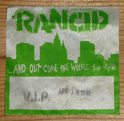 RANCID And Out Come The Wolves 1996 TOUR BACKSTAGE PASS BADGE bad religion.nofx