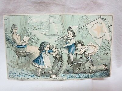 Victorian Trade Card Domestic Sewing Machine The Star Daddy Playing w Children