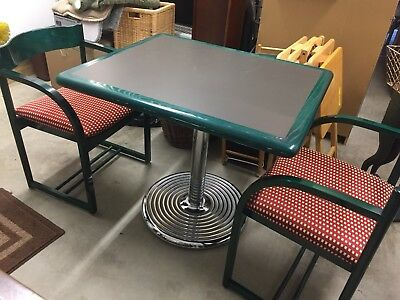 Loewenstein/Oggo Small Table W/ Two Chairs Mid-Century Modern, Green Wood Chrome