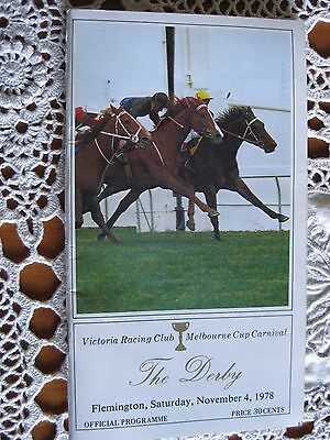 Vic.racing Club Melbourne Cup Carnival The Derby Nov 4Th 1978 Official Programme