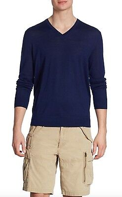 Polo Ralph Lauren Mens Navy Blue Cashmere V-Neck Sweater – Extra Large